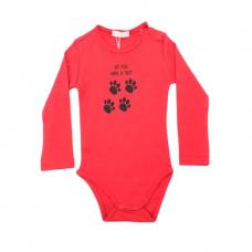 Baskılı Kırmızı Renkli Bebek Zıbın- K058